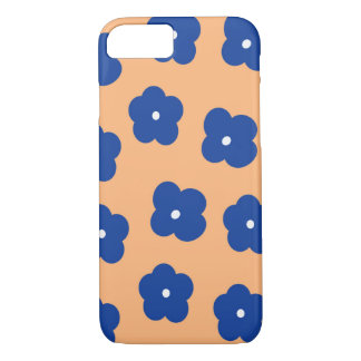 Azul floral e pêssego capa iPhone 7