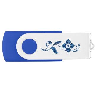 Azul floral pen drive