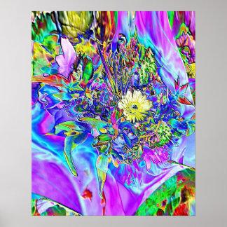 Azul fluorescente, lavanda & poster floral amarelo