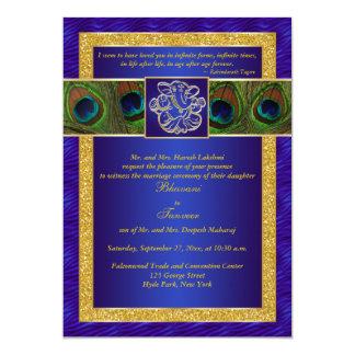 Azul Hindu de Ganesh, convite de casamento do