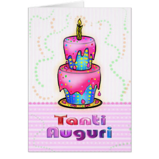 Azul italiano do rosa do bolo do feliz aniversario cartoes