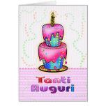 Azul italiano do rosa do bolo do feliz aniversario cartão comemorativo
