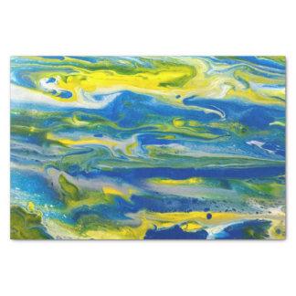 Azul & lenço de papel abstrato do amarelo
