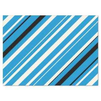 Azul, lenço de papel listrado preto e branco