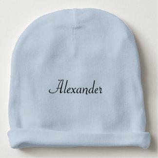 Azul liso personalizado ou branco do nome do bebé gorro para bebê