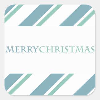 Azul listrado da etiqueta do feriado adesivos quadrados