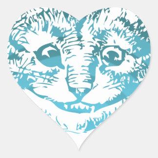 Azul listrado do gato de Cheshire Adesivo Coração
