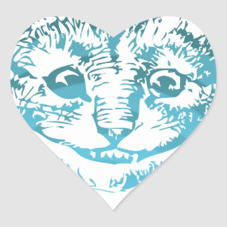 Azul listrado do gato de Cheshire Adesivo De Coração