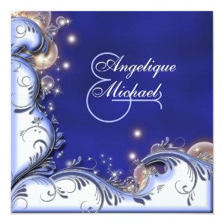 Azul litoral tropical do marfim do casamento de convite