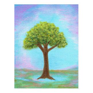 Azul lunático da arte da paisagem da árvore cartão postal
