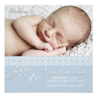 Azul macio da paixão - anúncio do nascimento da fo convites personalizado