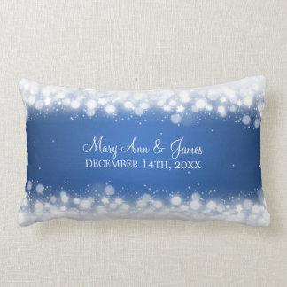 Azul mágico da faísca do favor elegante do casamen travesseiros de decoração