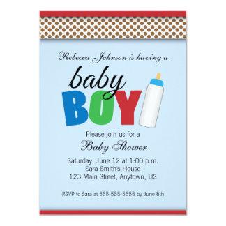 Azul & menino do chá de fraldas das bolinhas de convite 11.30 x 15.87cm