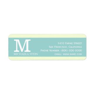 azul moderno & elegante, pastel, monogrammed etiqueta endereço de retorno