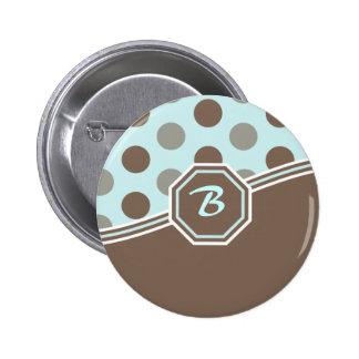 Azul & monograma de Brown Boton
