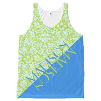 Azul na moda do verde limão da forma do recurso do regata com estampa completa