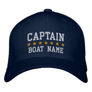 Azul náutico do capitão Seu Barco Nome Tampar Boné Bordado
