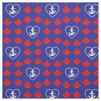 Azul náutico do tecido do coração da âncora de