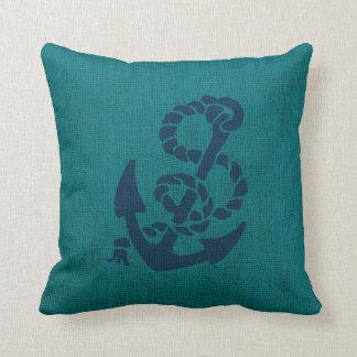 Azul náutico do verde do oceano da âncora e da almofada
