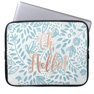"""Azul """"oh olá!"""" caixa do Belle do laptop Capas Para Notebook"""