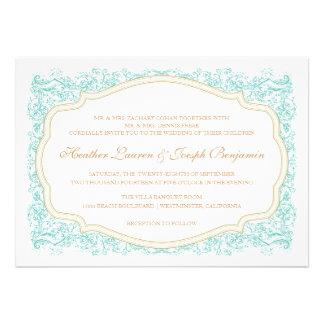 Azul ornamentado do vintage convite do casamento