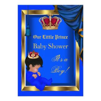 Azul pequeno elegante 2 do menino do príncipe chá convites personalizado