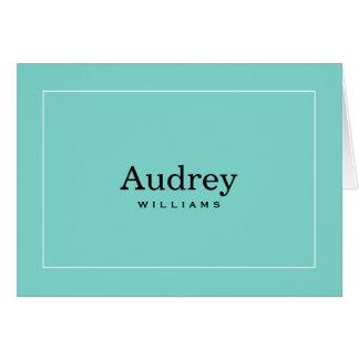 Azul personalizado do Aqua dos cartões de nota |