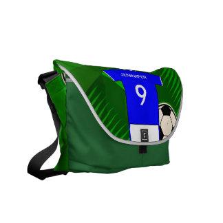 Azul personalizado e branco do jérsei de futebol bolsa mensageiro