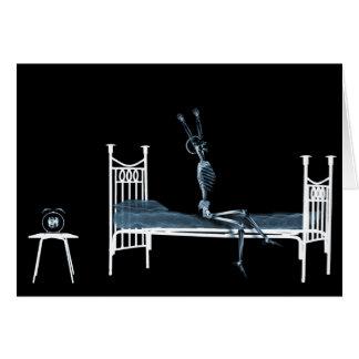 Azul preto de esqueleto do raio X das horas de dor Cartão