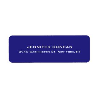 Azul profundo original bonito elegante moderno etiqueta endereço de retorno