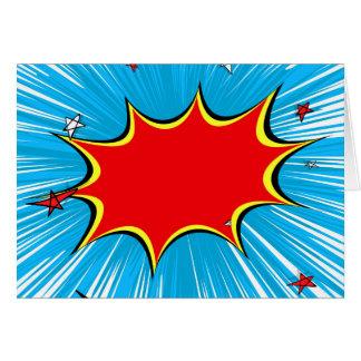 Azul retro & o vermelho Stars a explosão cómica Cartão Comemorativo
