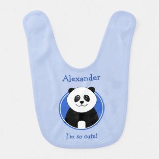 Azul reversível personalizado da panda bonito babadores infantis