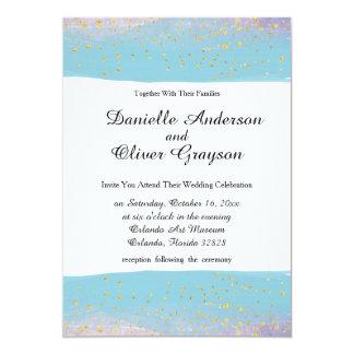 Azul, roxo & convite do casamento da aguarela do