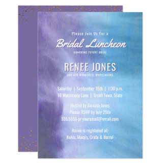 Azul roxo da lavanda Pastel nupcial do almoço   Convite 12.7 X 17.78cm