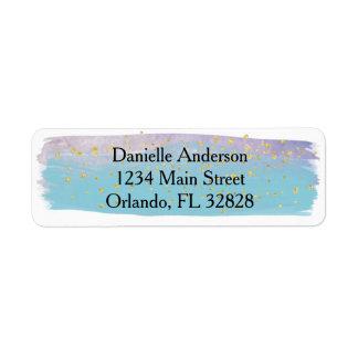 Azul, roxo & etiqueta de endereço do remetente da