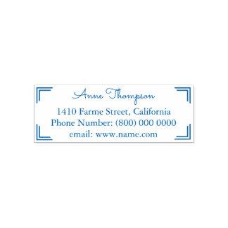 azul simples & limpo da informação de endereço carimbo auto entintado