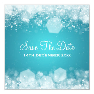 Azul Sparkling da noite do casamento no inverno Convites Personalizados