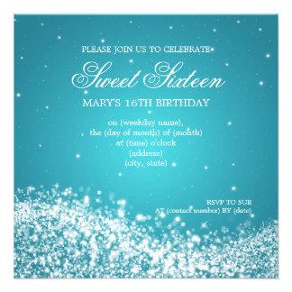 Azul Sparkling da onda do partido do doce dezessei Convites Personalizados