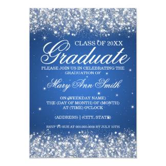 Azul Sparkling do brilho da festa de formatura Convites Personalizados