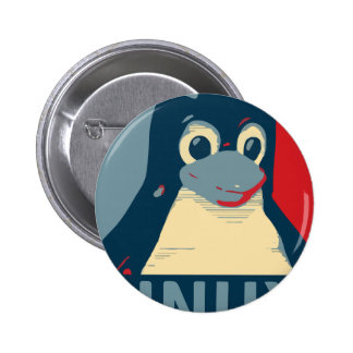 Azul vermelho da cabeça do poster do pinguim de bóton redondo 5.08cm