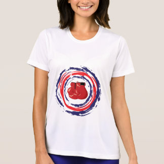 Azul vermelho e branco de encaixotamento camiseta