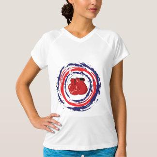 Azul vermelho e branco de encaixotamento camisetas