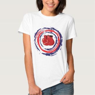 Azul vermelho e branco de encaixotamento tshirt