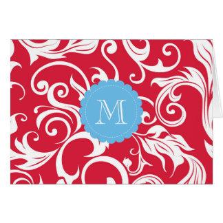 Azul vermelho floral do cartão de nota do