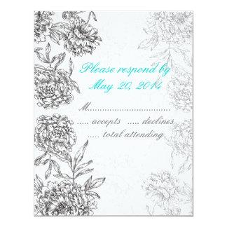 Azul Wedding floral preto e branco do Aqua do Convite 10.79 X 13.97cm