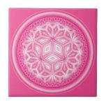 Azulejo abstrato cor-de-rosa da flor 4,25 polegada