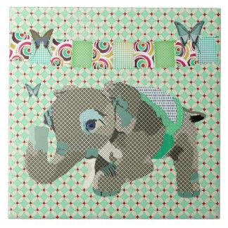 Azulejo afortunado do verde do elefante de Lil