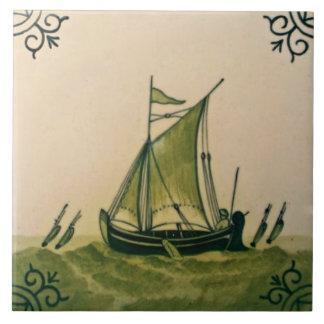 Azulejo antigo #1 Repro do barco de Minton Hollins
