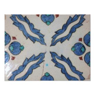 Azulejo antigo tradicional do otomano convite 10.79 x 13.97cm