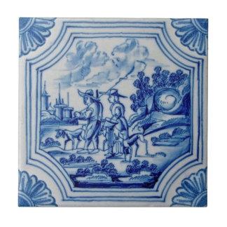 Azulejo azul da parede de Delft dos animais